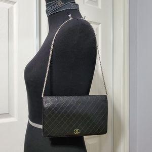 Chanel diamond stitch leather wallet woc